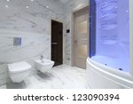 interior of designer bathroom | Shutterstock . vector #123090394
