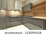 interior of designer kitchen | Shutterstock . vector #123090418