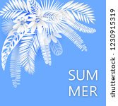 tropical banner with green palm ... | Shutterstock .eps vector #1230915319