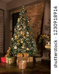 christmas tree in the room with ... | Shutterstock . vector #1230918916