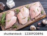 raw chicken breast   fillet  ... | Shutterstock . vector #1230920896