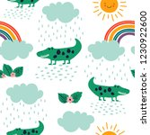 seamless childish pattern with... | Shutterstock .eps vector #1230922600