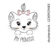 Stock vector cute cat face vector illustration t shirt graphics design for kids 1230925483