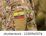 ecuador flag on soldiers arm.... | Shutterstock . vector #1230963376