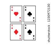 set of four aces card suit line ...