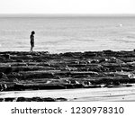 solitary child on the beach   Shutterstock . vector #1230978310