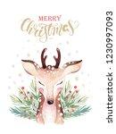 set of christmas woodland cute... | Shutterstock . vector #1230997093