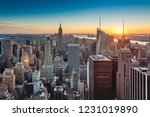 sunset on downtown manhattan... | Shutterstock . vector #1231019890