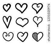 set of nine hand drawn heart.... | Shutterstock .eps vector #1231020976