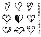 set of nine hand drawn heart.... | Shutterstock .eps vector #1231020979