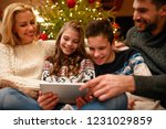 christmas time  fun family with ... | Shutterstock . vector #1231029859