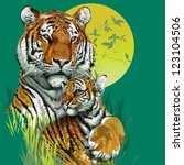 Tiger Family In Jungle. Vector...