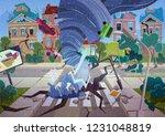 swirling tornado in village.... | Shutterstock .eps vector #1231048819