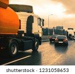 tanker truck in highway | Shutterstock . vector #1231058653