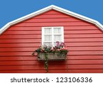 White Window With Flower On Red ...