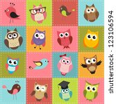 patchwork background with owls. ... | Shutterstock . vector #123106594