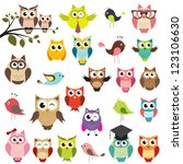 set of owls. raster version | Shutterstock . vector #123106630