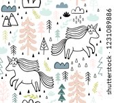 cute seamless unicorn pattern... | Shutterstock . vector #1231089886