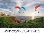 lima  peru  paragliding in... | Shutterstock . vector #123110314