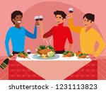 group of men celebrating... | Shutterstock .eps vector #1231113823