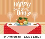 turkey dinner of thanksgiving... | Shutterstock .eps vector #1231113826