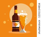 bottle and glass of beer... | Shutterstock .eps vector #1231114816