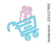 online shopping cart and gift... | Shutterstock .eps vector #1231117903