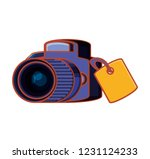 photographic camera with label... | Shutterstock .eps vector #1231124233