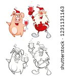 vector illustration of santa... | Shutterstock .eps vector #1231131163
