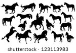 Stock vector set of vector horses silhouettes 123113983