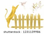 cat on fence  trying to catch a ... | Shutterstock . vector #1231139986