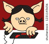 grumpy pc gamer pig woman that... | Shutterstock .eps vector #1231145656
