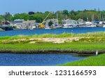 Great White Egret Marsh Padanaram Village Harbor Bridge Boats Moorings Buzzards Bay Dartmouth Masschusetts