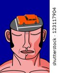 man with little car parking on his head - stock vector