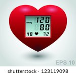 red medical heart monitor....   Shutterstock .eps vector #123119098