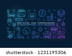 plug in hybrid vector colored... | Shutterstock .eps vector #1231195306