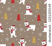 polar bear in winter seamless... | Shutterstock .eps vector #1231205149
