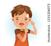 little boy looking of disgust. ... | Shutterstock .eps vector #1231206073