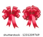 red ribbon bow isolated on... | Shutterstock . vector #1231209769