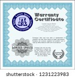light blue vintage warranty... | Shutterstock .eps vector #1231223983