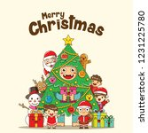 merry christmas card with cute... | Shutterstock . vector #1231225780