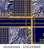 belts with chain and zebra... | Shutterstock . vector #1231243660