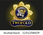 gold emblem with social... | Shutterstock .eps vector #1231258429