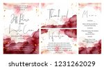 burgundy  pink and gold wedding ... | Shutterstock .eps vector #1231262029