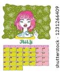 july. calendar 2019. month.... | Shutterstock .eps vector #1231266409