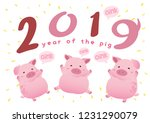 happy pig new year 2019... | Shutterstock .eps vector #1231290079