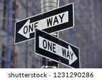 one way street sign n manhattan ... | Shutterstock . vector #1231290286
