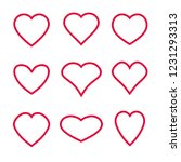 heart symbol shapes vector set... | Shutterstock .eps vector #1231293313