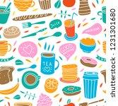 cute vector breakfast seamless... | Shutterstock .eps vector #1231301680