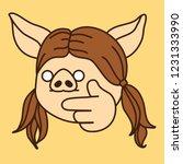 emoji with decisive pig woman... | Shutterstock .eps vector #1231333990